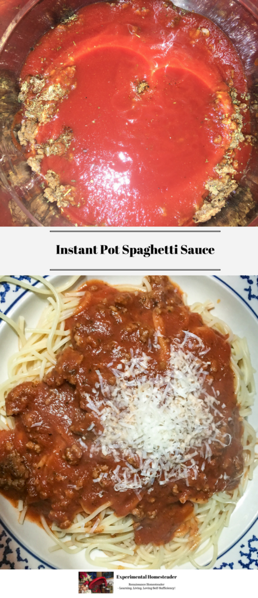 The top photo shows the ingredients for the spaghetti sauce in the Instant Pot. The bottom photo shows cooked spaghetti on plate topped with homemade spaghetti sauce and freshly grated parmesan cheese.