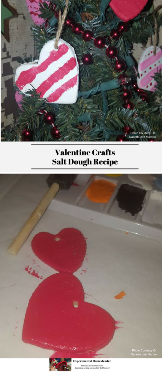 The top photo is an evergreen tree decorated with heart shaped ornaments and red beads. The bottom photo show a paint brush, paint and a heart shaped salt dough ornament painted red.