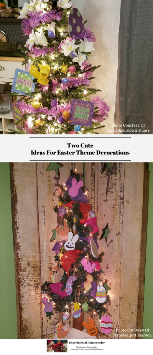 The top photo shows Silk flowers, fake Easter eggs and repurposed decorations on an Easter holiday tree. The bottom photo shows a primitive Easter tree decorated with handmade salt dough ornaments.