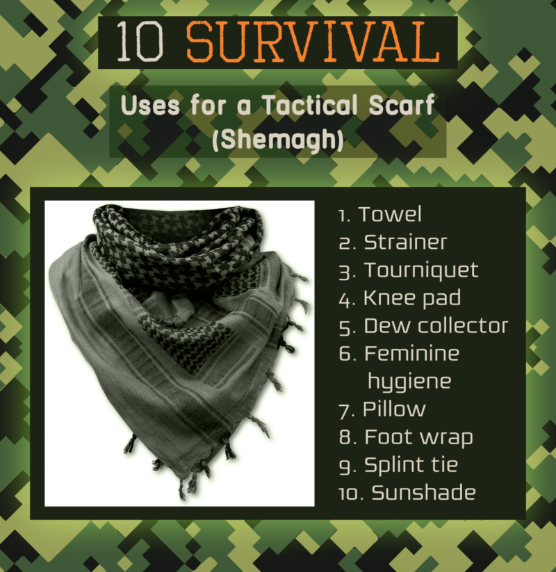 An infographic about 10 survival uses for a tactical scarf.