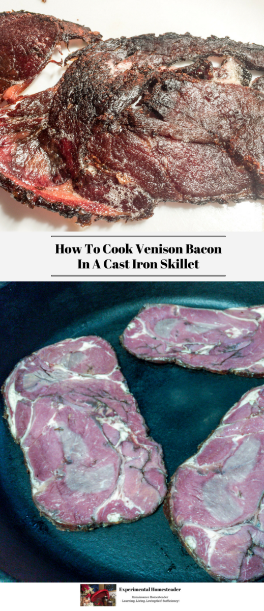 The top photos shows cooked venison bacon. The bottom photo shows raw venison bacon.
