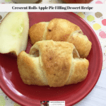 Crescent rolls apple pie laying on a plate with a sliced apple quarter.