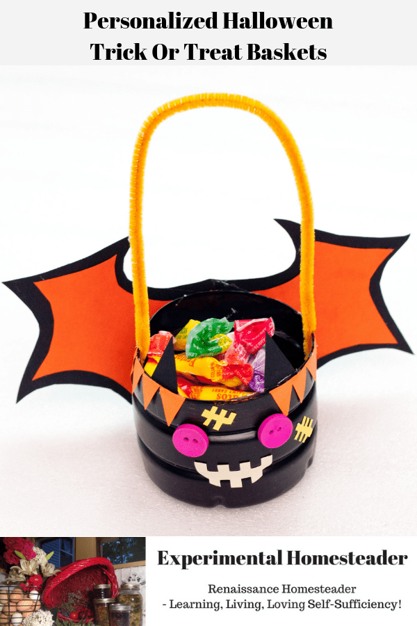 A homemade personalized Halloween trick or treat basket in the shape of a bat.