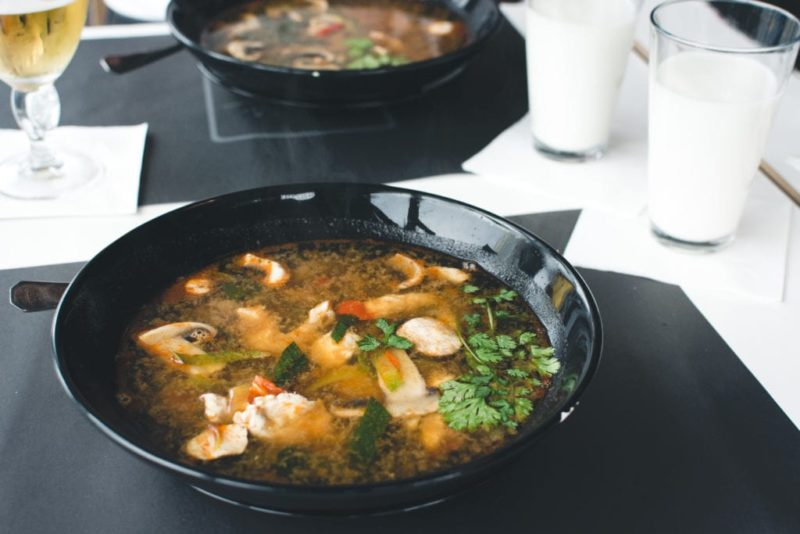 Thai soup in a skillet.