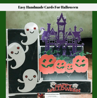 A completed easy handmade card for Halloween.