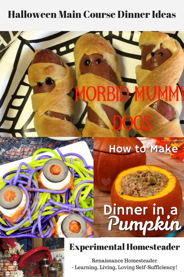Halloween main course dinner ideas collage.