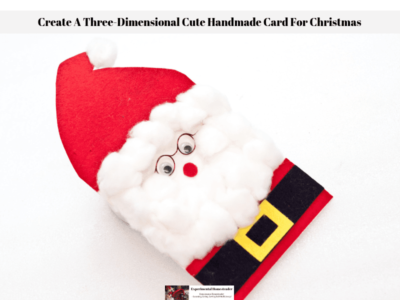 A cute handmade card for Christmas made to look like a three-dimensional Santa Claus.