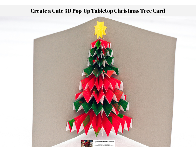 The completed 3D pop-up tabletop Christmas tree card.