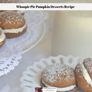 Whoopie Pies on a place with a glass of milk sitting alongside.