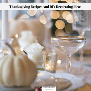 A thanksgiving table set with white and gold tableware and a white pumpkin.