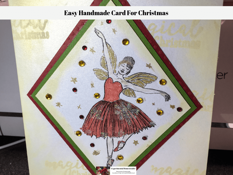 The finished easy handmade card for Christmas.