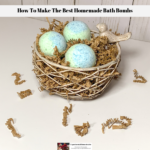 Three homemade birds eggs bath bombs in a birds nest.