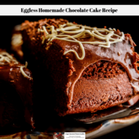 A slice of eggless homemade chocolate cake being removed form the main cake in order to serve it.