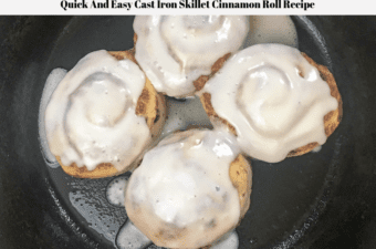 Cinnamon rolls in a cast iron skillet.