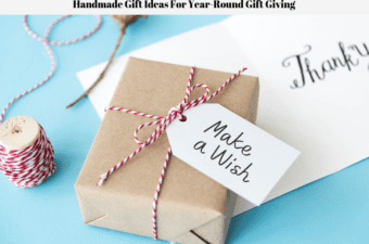 A hand wrapped gift, a spool of string and a thank you card.