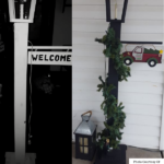 A before and after photo showing how to decorate a lamp post for Christmas.