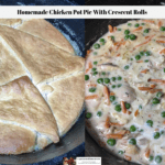 The first photo shows the crescent crust on the chicken pot pie. The second photo shows the filling of the chicken pot pie without the crust.
