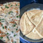 The first photo shows the filling of the chicken pot pie without the crust. The second photo shows the crescent crust on the chicken pot pie.