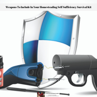 Pepper spray, a stun gun and a pepper gun along with a protection shield.