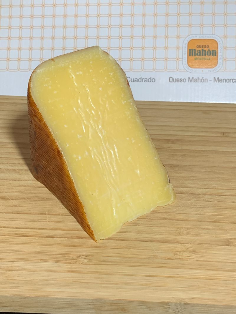 The Mahon Cheese unwrapped and ready to cut up.