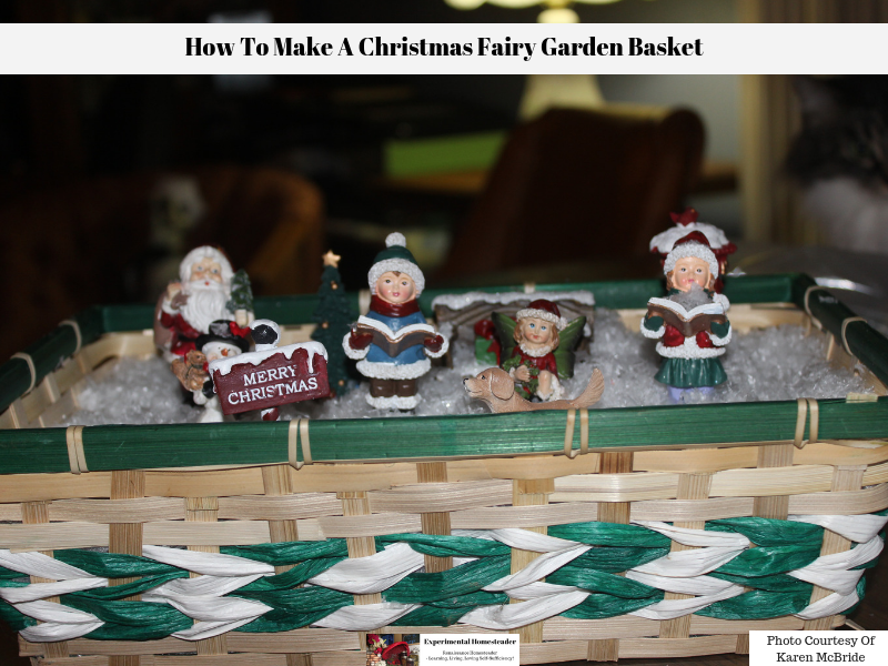 The completed Christmas Fairy Garden Basket on display.
