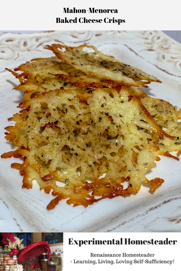 The baked cheese crisps sitting on a plate ready to be served.