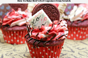 A decorated ready to eat red velvet cupcake.