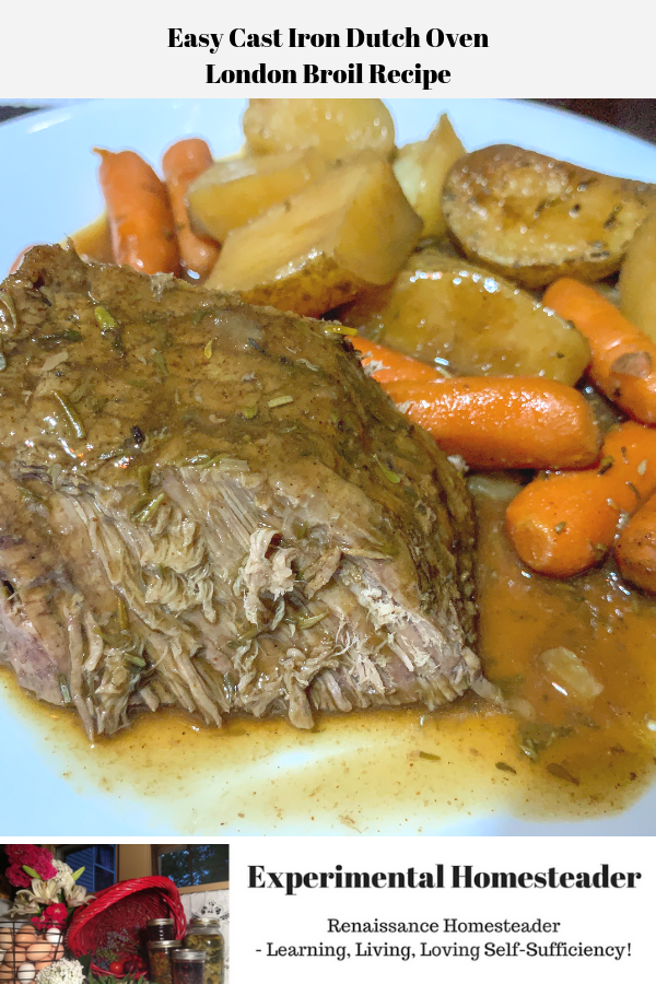 The London Broil, potatoes and carrots on a plate ready to be eaten.