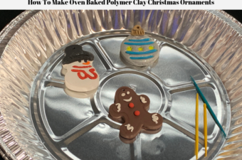 Polymer Clay Christmas Ornaments in a pie pan cooling after being baked.