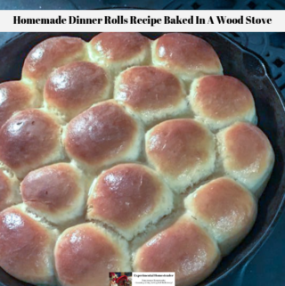 The ready to eat homemade dinner rolls recipe resting in the cast iron skillet on top of the wood burning cook stove.