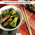 The stir-fry beef and broccoli recipe in a dish ready to be eaten.