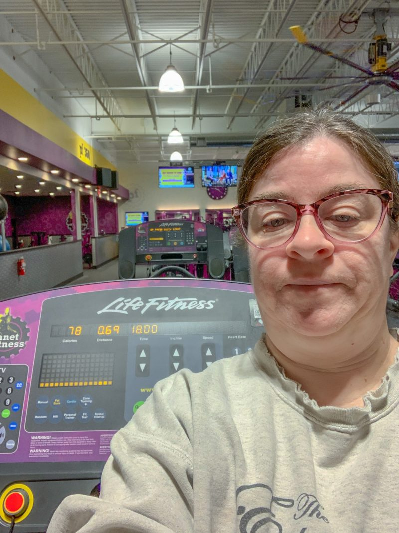 Sheri Ann Richerson after working out on the treadmill at Planet Fitness.