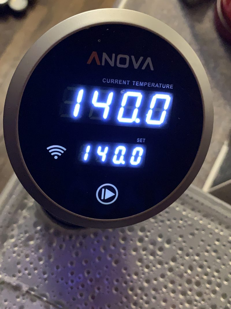 The Anova Sous Vide Machine has reached the ideal temperature.