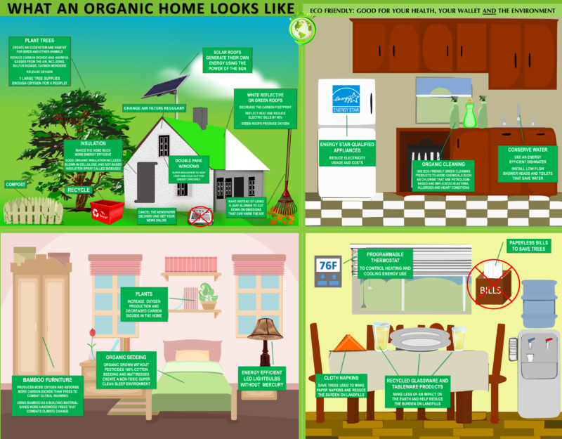 An infographic showing the elements of an organic home.