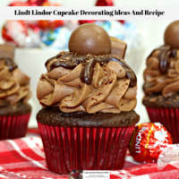 The cupcake decorated with Lindt Lindor chocolates ready to eat.