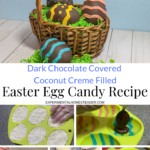 The top photo shows the finished Easter eggs in a basket and the bottom photos are in process shots.