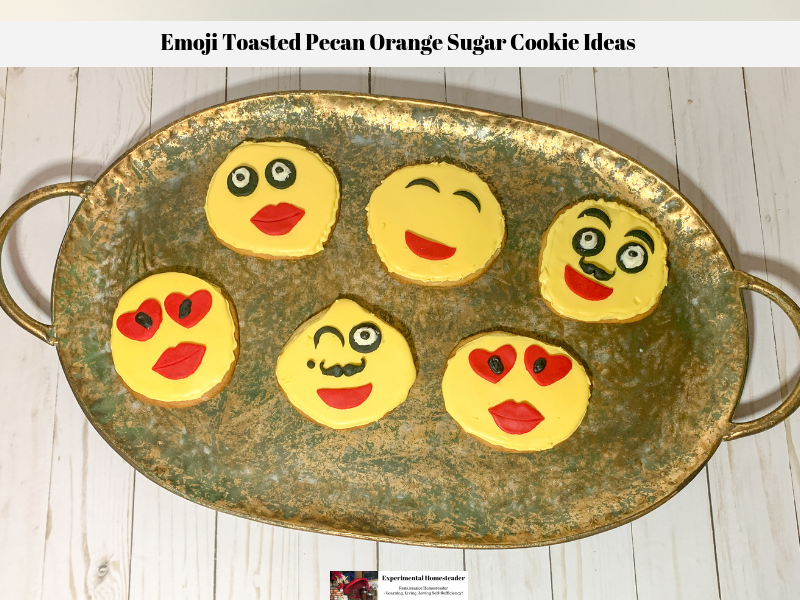 Decorated emoji sugar cookie ideas laid out on a platter.