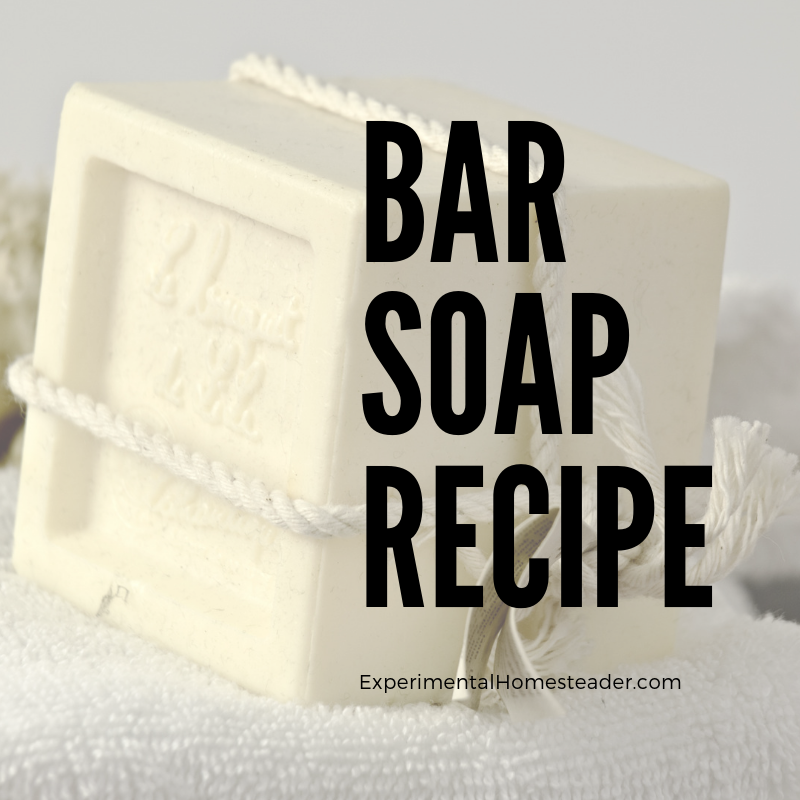 A basic bar of soap made using a bar soap recipe.