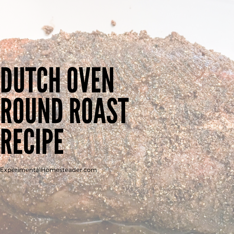 The round roast in the dutch oven at the beginning of the cooking cycle.