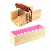 ESA Supplies Wooden Soap Loaf Cutter Mold and Soap Cutter Set + 1 pc Rectangle Silicone Mold with Wood Box + 1 pc Straight Cutter + 1 pc Wavy Cutter