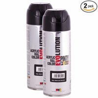 Fast Dry, Low Odor, Low VOC - Acrylic Spray Paint Pintyplus Evolution - Pack of 2 (Gloss Jet Black)