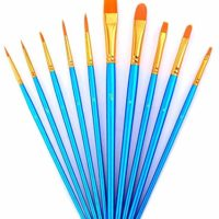 YOUSHARES 10pcs Art Paint Brush Set for Watercolor, Oil, Acrylic Paint/Craft, Nail, Face Painting