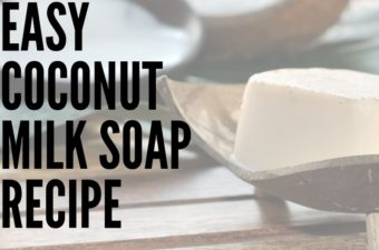 A cut open coconut, a bowl of coconut milk and a bar of coconut milk soap in a soap dish.