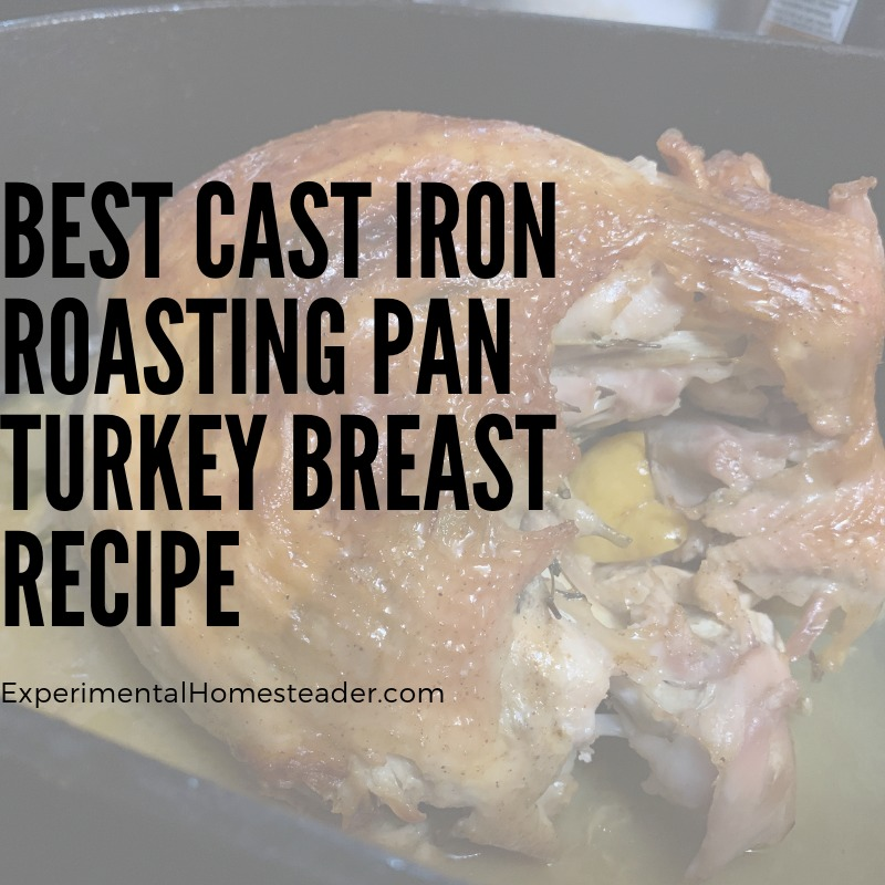The cooked turkey breast in the cast iron roasting pan.