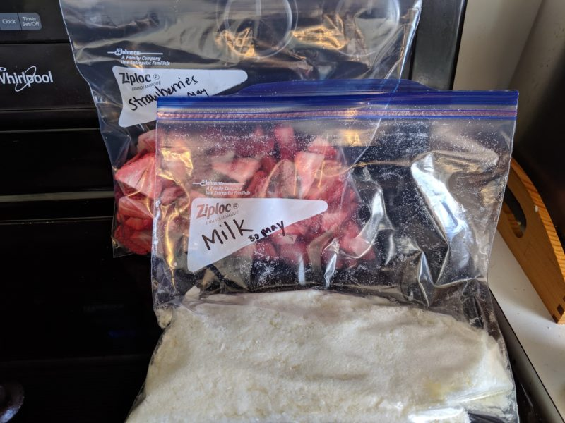 The freeze dried milk and the freeze dried strawberries in bags.