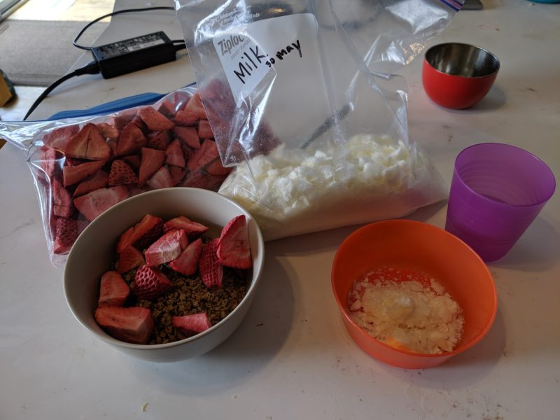 The milk and freeze dried strawberries in a bag with a few in separate bowls.