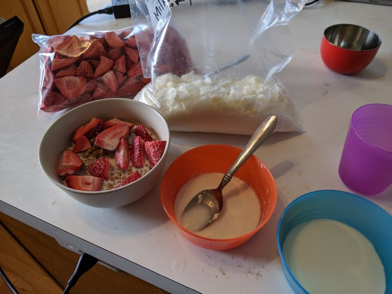 Freeze dried milk and strawberries in bowls and in bags.