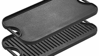 """Lodge LPGI3 Pro-Grid Cast Iron Reversible 20"""" x 10"""" Grill/Griddle Pan with Easy-Grip Handles 10"""" x 20"""""""