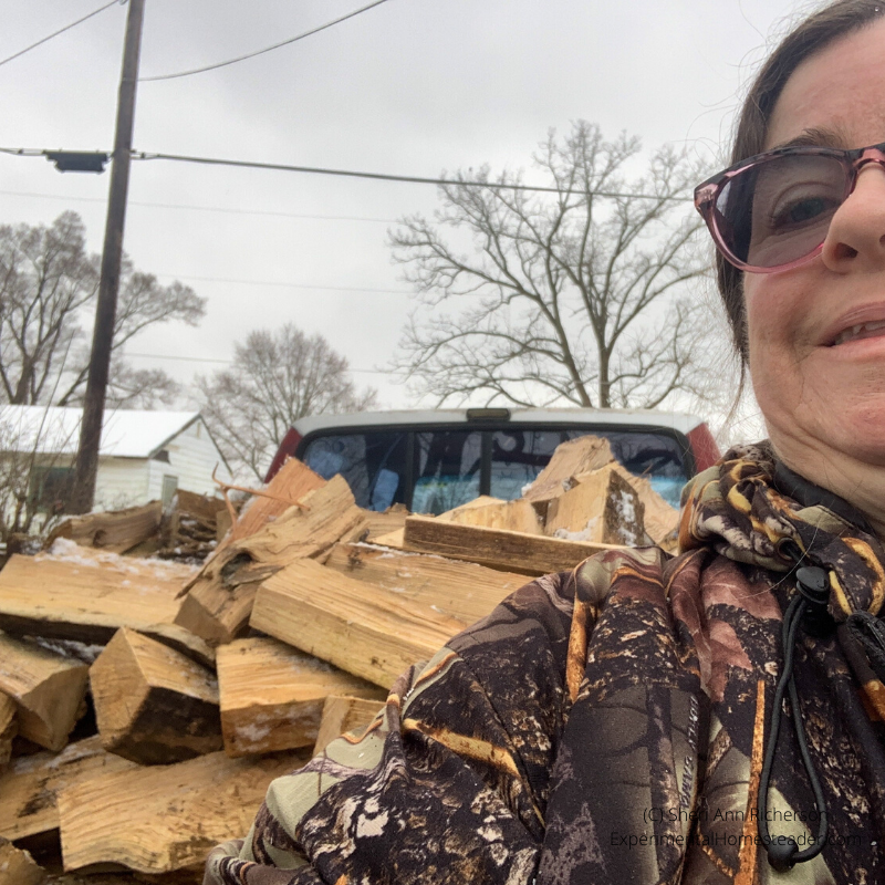 Sitting in the bed of the truck filled with wood.